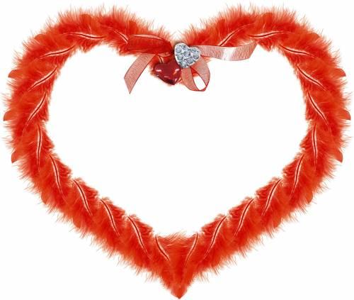 Сердечки Пушистое красно-оранжевое сердечко рамки
