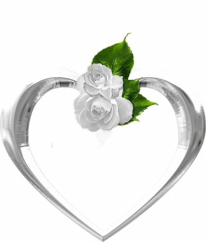 Сердечки Рамка-сердечко с белыми розами рамки