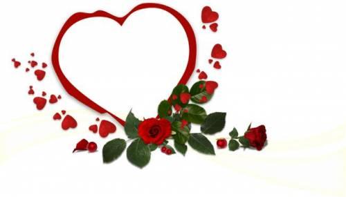 Сердечки Рамка- красное сердечко с розой рамки