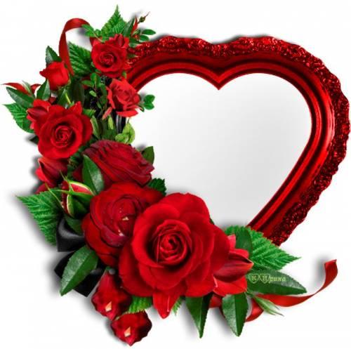 Сердечко красное в розах