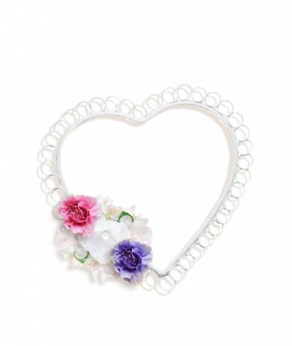 Сердечки Рамка- белое сердечко с цветами рамки