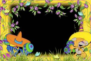 Рамки-картинки: Ежик с грибами на иголках