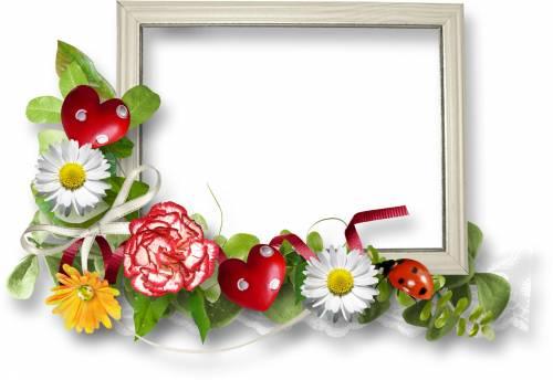 Белые белая рамка с яркими цветами